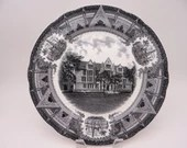 1931 Vintage University of Chicago Spode Black and White Dinner Plate Eckhart Hall