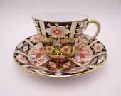Vintage 1927 Royal Crown Derby English Bone China Imari 2451 Demitasse Cappuccino Espresso Teacup and Saucer Set