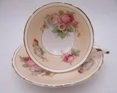 1950s Delightful Paragon English Bone China Beige Red Rose Floral Teacup and Saucer Pretty English Tea Cup A981