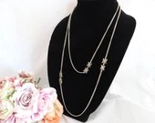 "Gold Tone Chain Necklace with Asian Symbol Accents 54"" Long and Lovely"