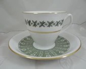 """1960s Mid Century Vintage Spode English Bone China Green Teacup and Saucer Set  """"Provence"""" Pattern  English Tea Cup Y7843"""