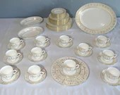"""Spectacular 63 Piece Wedgwood English Bone China """"Grecian Gold"""" 12 Five Piece Place Settings Plus Serving Pieces China Set Service for 12"""