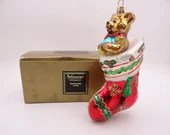 "Vintage Kurt Adler Polonaise Hand Blown Glass Christmas Ornament ""Bearing GIfts"" Teddy Bear in Original Box AP 1096"