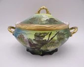 1898 Antique Vintage O.&.E.G. Royal Austria Covered Vegetable Bowl with Hand Applied Enamel Accents
