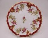 1890s Antique Vintage Factory Decorated Blakeman and Henderson B&H Limoges France Red and Gold Cabinet Plate
