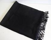 "Oversized Black Scarf  26"" by 68""  Large Black Shawl  Vintage Black Scarf"