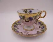 1950s Royal Sealy China Gold Footed Grape and Pear Teacup Stunning and Outstanding Tea Cup
