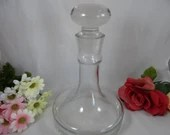 Large Danish Modern Minimalist Clear Glass Decanter for Elegant Barware and Bar Cart Accessory