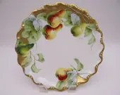 1920s Factory Hand Painted and Artist Signed Coiffe Limoges France Pear Plate