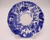 1930s Vintage Royal Crown Derby English Bone China Teacup Blue Mikado Bread and Butter Plate - 5 available