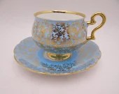 Spectacular Vintage Royal Kent English Bone China Blue and Gold Floral Chintz Teacup and Saucer Set - Delightful English Tea Cup