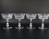 Set of Four Vintage Gorham De Medici Crystal Champagne Glasses / Tall Sherbet Dishes with Cut Dot and Cut Vertical Line - Marked Gorham