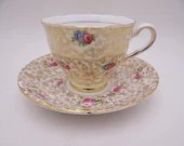 1970s Mis-Matched English Bone China Red Rose Chintz Teacup and Saucer classic English Tea cup