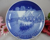 1969 Bing and Grondahl B G Christmas Collector Plate Arrival of Christmas Guests