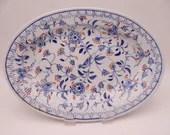 1860s Hand Painted Antique F C Greiner Rauenstein Meissen Germany Hand Blue and White Ribbed Serving Platter - PL1