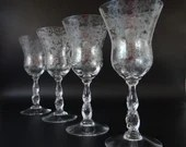 """Set of Four Gorgeous Vintage Cambridge Chantilly 8"""" Crystal Etched Water Wine Goblet Glass  - Mid Century Modern Stemware - 2 Sets Available"""