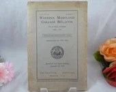 Vintage 1928 - 1929 Western Maryland College Bulletin Year book