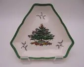 Vintage Spode Christmas Tree Made in England Triangular Serving Dish Tray  Cookie Dish