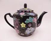 Vintage Hand Painted Black Multicolor Floral Colorful Teapot
