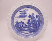 """Vintage Spode Blue Room Collection Willow Series Blue and White Dinner Plate """"Buffalo"""""""