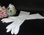 "Vintage Elbow Length Off White Elbow Length Gloves are 17.25"" Long in Great Vintage Condition - So Pretty!"