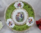 1950s Vintage Japanese Rococo Cherub Cabinet Plate Delightful and Colorful