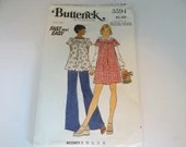 Vintage Butterick #3594 Women's Maternity Top and Pant Sewing Pattern in Size 16 - Fast and Easy - Cut but Complete - Mid Century Modern