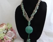 Unique Polished Green Stone and Shell Necklace Gorgeous Natural Necklace