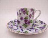 Vintage Japanese Porcelain Violets Demitasse Cappuccino Teacup and Saucer Set Pretty Purple Tea Cup Espresso Cup