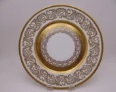 Vintage Wheeling Decorating China Gold Encrusted Dinner Plate WHD14 Made in USA - Just Spectaculat