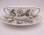 """Near Mint Vintage Wedgwood English Bone China """"Strawberry Hill""""  Cream Soup or Bouillon Bowl with Saucer- 12 available"""