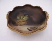 Stunning Antique Hand Painted Nippon Matte Nut Bowl