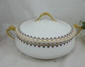 1920s Vintage Limoges France Haviland & Co Round Covered Vegetable Bowl Art Deco Yellow Flowers Schleiger 570b