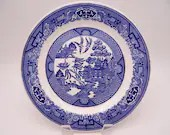 Vintage Blue and White Willow Ware Plate by Royal China Sebring Ohio
