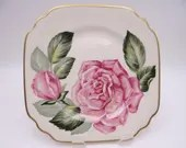 """Vintage Syracuse China Made in the USA """"The Rose"""" Square Salad Plate Floral Accent Plate"""