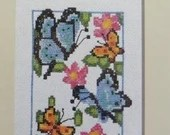 Crafters Square Fluttering Butterflies Cross Stitch Kit a Nostalgic Charming Butterfly Garden with Colorful Butterflies