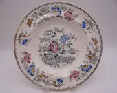 """1870s Antique Bates, Walker and Co. B.W. & Co. """"Flower"""" Hand Painted Soup Bowl"""