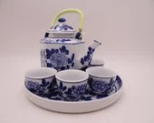 Vintage Chinese Blue and White Green Tea Set  - Charming