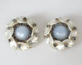 Classic and Elegant Mid Century Blue Rhinestone and White Lucite Clip Earrings on a Gold Tone Setting - Stunning Mid Century Earrings