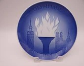1972 Bing and Grondahl B G Blue and White Munich Olympiade Plate