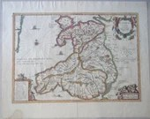 Antique Humphrey Lloyd Hand Colored Engraving Map of Wales -