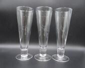 Set of Three Pilsner Glasses - Three Beer Glasses - Clear Glass Pilsner Glass - Barware Glass - Pint Glass