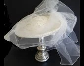 Vintage Off White Brim Hat with Veil and Netting  a Lovely Vintage Accessory of Victorian Style Elegant Bridal or Derby Hat
