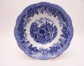"""Vintage Meakin """"Romantic England"""" Blue and White West Gate and Leicester Hospital Vegetable Bowl"""