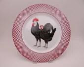 "Vintage Haldon Group ""Devonshire"" Black Rooster and Chicken Plate"
