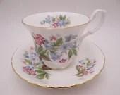 "Vintage English Bone China Royal Albert Summertime Series ""Bourton"" English Teacup and Saucer Set English Tea Cup"