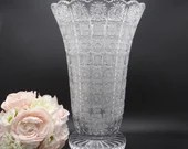 """Vintage Cut Crystal Glass Stars Vase 13.5"""" with a Trumpet Style Design a Large and Elegant Home Decor Piece"""
