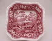 "Vintage Spode Made in England ""Spode Tower"" Pink Square Salad Bowl"