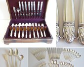 """1938 Holmes & Edwards """"Danish Princess"""" 44 Piece Silverplate Flatware Set Service for 8 with 5 Piece Place Settings and 4 Serving Pcs in Box"""