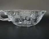 Vintage Fostoria Meadow Rose One Handled Flared Nappy - Etched Glass Nappy - Fostoria Crystal Nappy